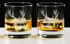 Whiskyglas mit Hirschgravur